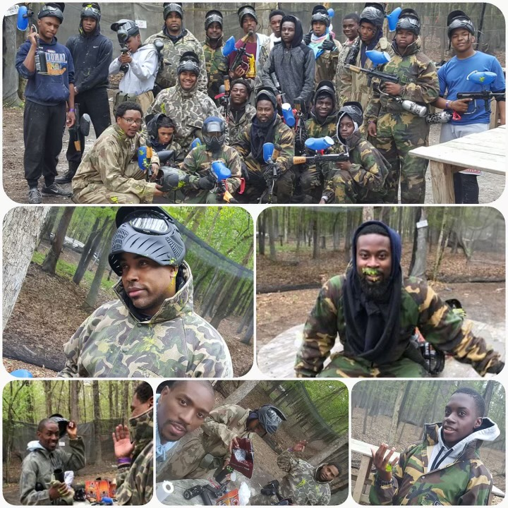 Collage of young men participating in paintball
